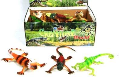 1 x Echse (Chamäleon, Agame, Gecko) aus Kunststoff ca. 24 cm, Gummi, 1 aus 3 Varianten