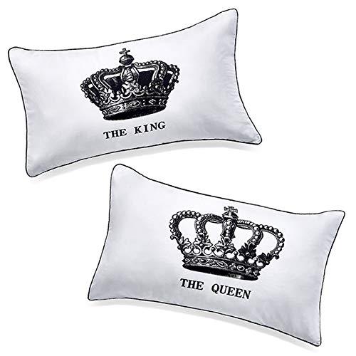 """Coppie di federe copricuscino con scritta """"the king"""" e """"the queen"""", idea regalo romantica per lui e per lei, regalo divertente per lui, regalo per il proprio marito"""