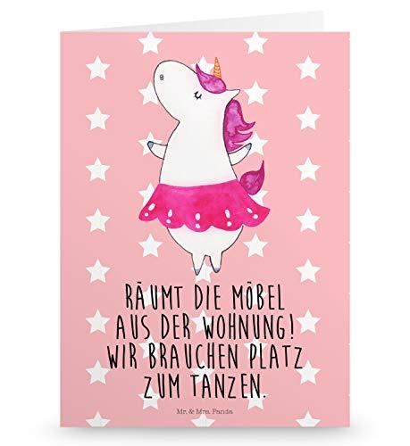 Mr. & Mrs. Panda Hochzeitskarte, Glückwunschkarte, Grußkarte Einhorn Ballerina mit Spruch - Farbe Rot Pastell
