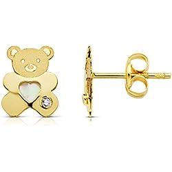 Pendientes niña mujer oso osito nácar 8 x 6 mm corazón oro amarillo 18 ktes cierre presión