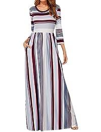 82b36a0372b PAOLIAN Damen Kleider Sommer Elegant Beiläufiges ärmelloses Partykleid Lange  Strandkleid Maxikleid Taillen Gestreiftes Maxi Kleid der
