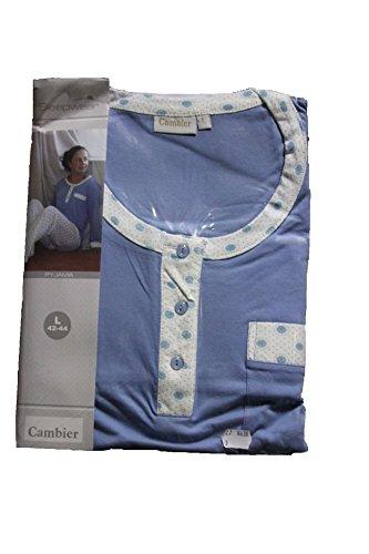Cambier - Sleepwear - Pyjama Dame - Jersey (100% Coton) - Réf8638 Bleu
