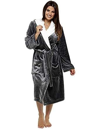 Luxury Dressing Gown Ladies Super Soft Robe with Fur Lined Hood Plush Bathrobe for Women (S, Dark Grey)