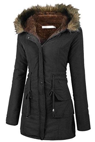 Tomasa parka cappotto giacca donna invernale lungo di pelliccia con cappuccio m-xxl 3 colori (m, nero)