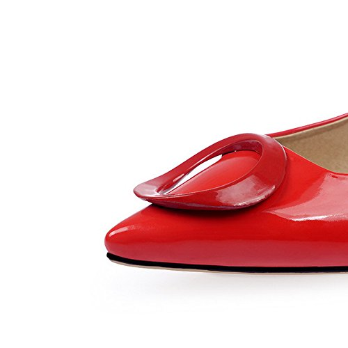 VogueZone009 Donna Tirare Scarpe A Punta Tacco Medio Luccichio Puro Ballerine Rosso