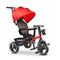 GYF Child Trike Baby Bike Trike For 2 Year Old Strollers For Kids Folding Sun Canopy Fit From 6 Months To 6 Years Walker For Kids Blue Red Gray ( Color : Red )