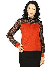 SVT ADA COLLECTIONS Suede Rust Color with NET Sleeves & Yoke Elegant PARTWEAR TOP (022428_Urust_Medium)