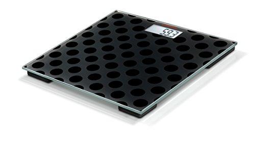 Soehnle Personenwaage Maya Digital Black Edition Circles in moderner Optik, kompakte Personen Digitalwaage, energiesparende Waage mit LCD-Anzeige