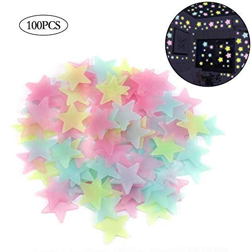 AMOYER 100 Stück. 3D Sterne Leuchten In Der Dunkelheit Leuchtende On Wand-Aufkleber Für Kinderzimmer Wohnzimmer-Wand-Aufkleber-Ausgangsdekoration Poster