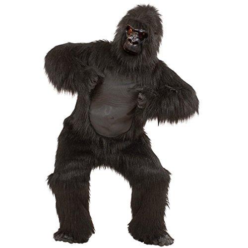 NET TOYS Gorilla Kostüm aus Plüsch Affe Ganzkörperkostüm Affen Plüschkostüm Zoo Strampler Dschungel Jumpsuit Maskottchen Tierkostüm King Kong Outfit Verkleidung - Plüsch Maskottchen Kostüm