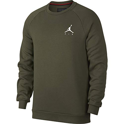 Nike Herren Jumpman Fleece Crew Sweatshirt XS Grün/Weiß (Olive Canvas/White) - Fleece Crew Sweatshirt