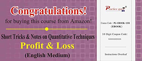 Practice Guru Short Tricks and Notes on Quantitative Techniques - Profit & Loss (Email Delivery in 2 Hours) (Activation Key Card)