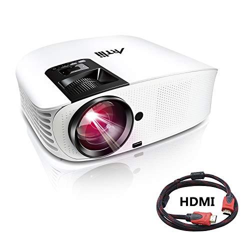 Artlii Proyector HD, Home Cinema Proyectores LED 3500 Lúmenes, Soporte 1080p Full HD, HDMI x 2, AV, USB, VGA, SD Conexiones, Proyector Cine en Casa,Blanco