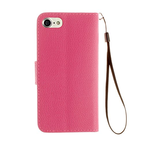 "inShang iPhone 7 Coque 4.7"" Housse de Protection Etui pour Apple iPhone7 4.7 Inch,Coque Avec support fonction, Pochette super- utile, Wallet design with card slot Lichi rose"