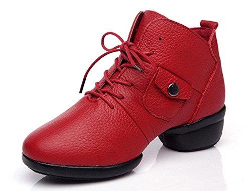 SHIXR Tanzschuhe Damen Damenturnschuh-Jeans-Mädchen-weiche Unterseite Breathable Jazz-Tanzen-Schuhe Rote