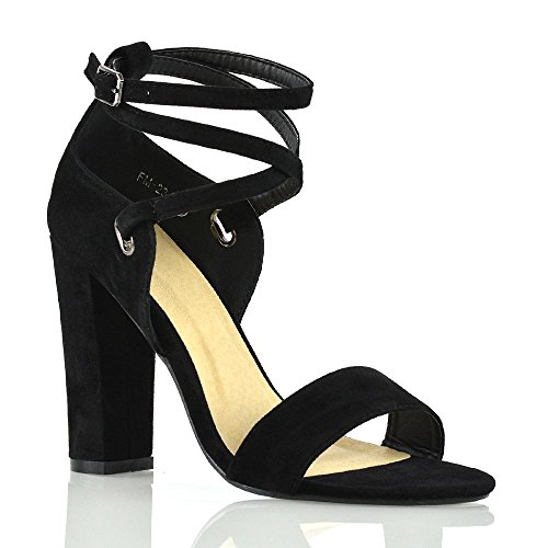ESSEX GLAM Donna Elegante Cinturino alla Caviglia Tacco Alto Sandali Le Signore Metà Tacco Sera Festa Scarpe Nero Finto Scamosciato