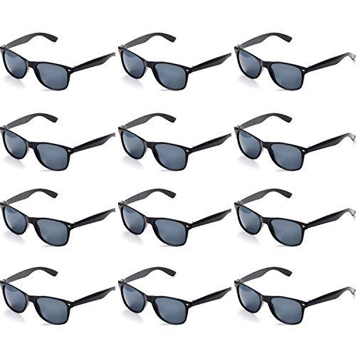 OAONNEA 12 Paare Lustige Neon Party Sonnenbrillen Set fur Kinder Damen Sommer 80er Uv400 (12schwarz)