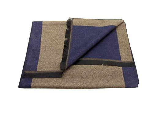 Van Buck - Bufanda reversible, color azul marino y marrón