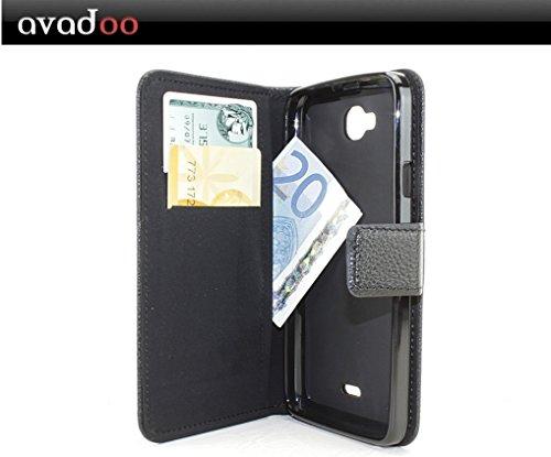 avadoo® Wiko Slide Flip Case Cover Tasche Schwarz mit Magnetverschluss und Dualnaht als Cover Tasche Hülle