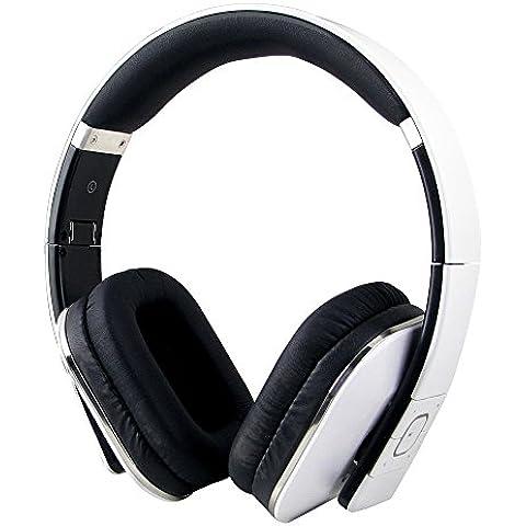 August EP650W Auriculares Bluetooth NFC Inalámbricos, micrófono integrado, batería interna recargable y cómodas almohadillas de cuero, conexión 3.5 mm y Micro USB, para Smartphones, iPhones, iPads, ordenadores y tabletas, blanco