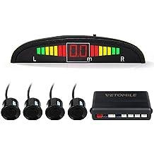 VETOMILE Detector de Radar Sistema de Aparcamiento con 4 Sensores de Coche, Sensor Aparcamiento con Alarma Sonido y Pantalla LED de Visión Marcha atrás