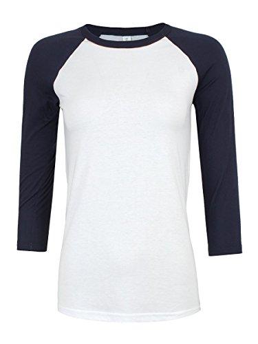 Bella & Canvas Baseball Damen T-Shirt mit 3/4 ärmeln Marineblau weiß