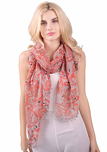 Flamingo Print Pom Pom Quaste Schals für Frauen -