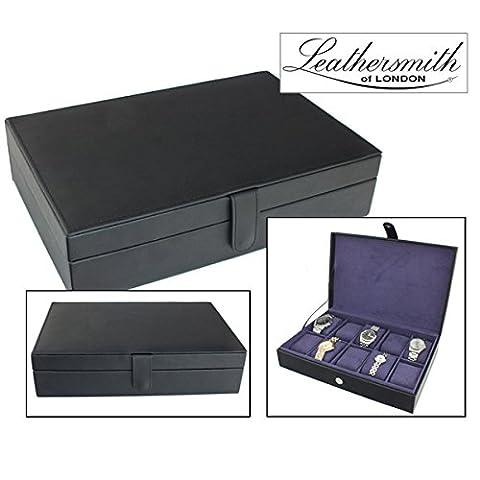 Leathersmith of London® Gents Genuine Black Bonded Leather 10 Watch Storage Case Organiser Box with Purple Interior