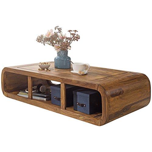 WOHNLING Couchtisch Massiv-Holz Sheesham 120 cm breit Wohnzimmer-Tisch Design dunkel-braun Landhaus-Stil Beistelltisch Natur-Produkt Wohnzimmermöbel Unikat modern Massivholzmöbel Echtholz rechteckig (Natur-holz Rechteckig Couchtisch)