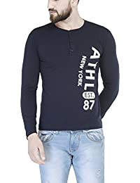 TSX Men's Solid Henley Neck Full Sleeve T-shirt