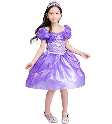 nzel Kostüm Kinder Glanz Kleid Mädchen Weihnachten Verkleidung Karneval Party Tangled Halloween Fest Lila (Tangled Kostüm Für Kinder)