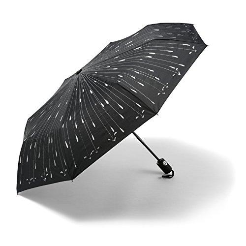Regenschirm - Bester Automatisch Öffnender Regenschirm - GELD-ZURÜCK-GARANTIE - Automatisch öffnend/ schließend im Regentropfen-Design. Bester winddichter ReiseRegenschirm für Damen + Herren