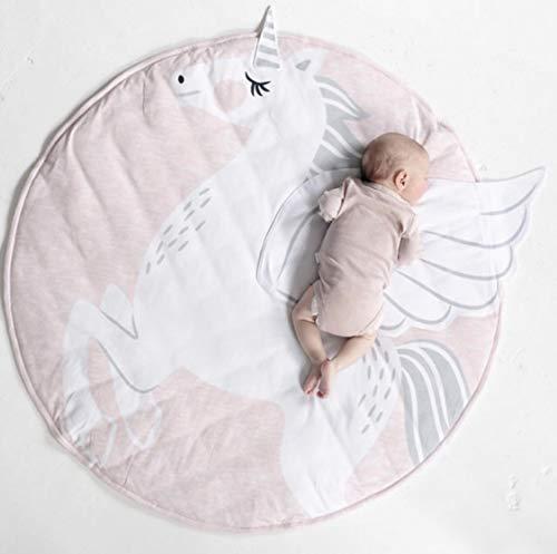 Zinsale Baby Spielmatte Runde Kinderzimmer Boden Turnhalle Tier Dekorative Teppich Baumwolle Gepolsterte Krabbeldecke Schlafzimmer Teppich Fotografie Prop (Einhorn) - Tier-haut-teppich