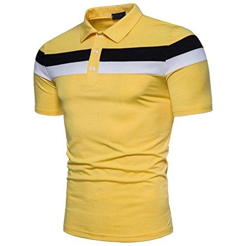 Polo Sport T-Shirt Uni Homme M à 2XL,Covermason Homme Polo Shirts Manche Courte Casual T-Shirt Mode Mince Fit Fawn Imprimer Chemise Tee Tops (Jaune, M)