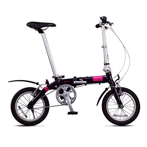 Klappräder Faltrad Mini Ultraleicht 14 Zoll Fahrrad Männer Und Frauen Tragbare Kleine Rad Aluminiumlegierung Ultraleichtes Fahrrad (Color : Purple, Size : 115 * 27 * 59cm)