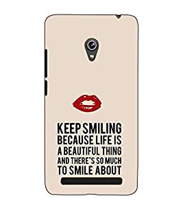 Fuson Designer Back Case Cover for Asus Zenfone 5 A501CG (Keep smiling because)