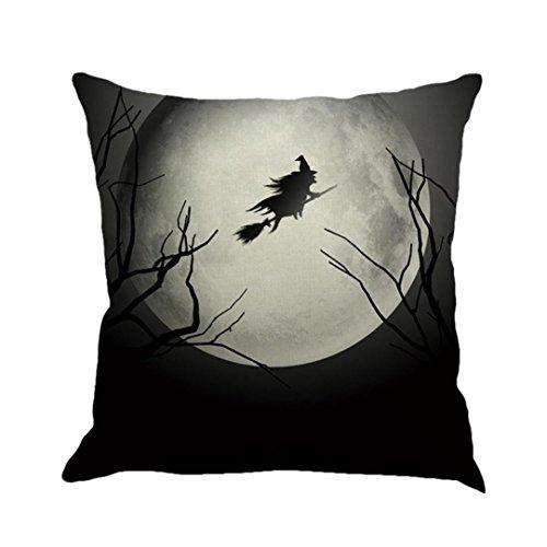 Fuibo Home Decor Happy Halloween Kissenbezüge Leinen Sofa Kissenbezug (A) (Rabatt Halloween Dekor)