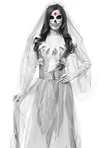QIONGQIONG Halloween Lady Horror Braut Zombie Spitzenkleid Kostüm Spiel Kleid Bühne Dämon Kostüm Party,White,M