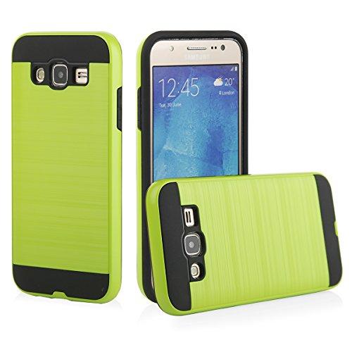 EGO® Hard Case Schutz Hülle für Samsung J500 Galaxy J5, Grün Metallic Effect Aluminium Brushed Handy Cover Schale Bumper Etui Grün