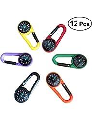 Toyvian 12 STÜCKE Kunststoff Klettern Karabiner Outdoor Selbsthemmung Campass Karabiner Schlüsselbund für Reisen Wandern (Zufällige Farben)