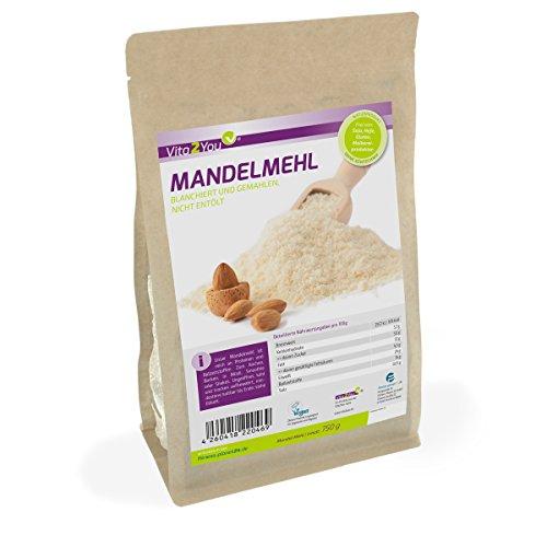 Mandelmehl 750g - blanchiert und naturbelassen - low carb - im wiederverschließbaren Zippbeutel - Premium Qualität