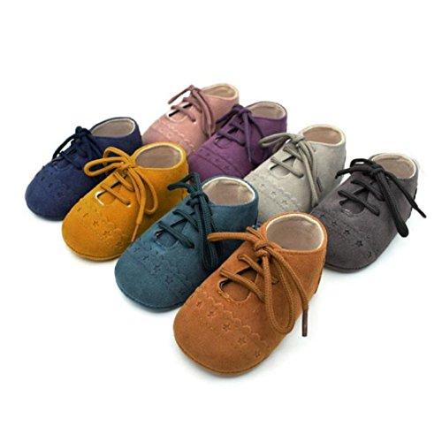 Amlaiworld_Primeros pasos Zapatos De Bebé, niño niña zapatillas de bebé antideslizante de encaje hasta zapatos 0-18 Mes