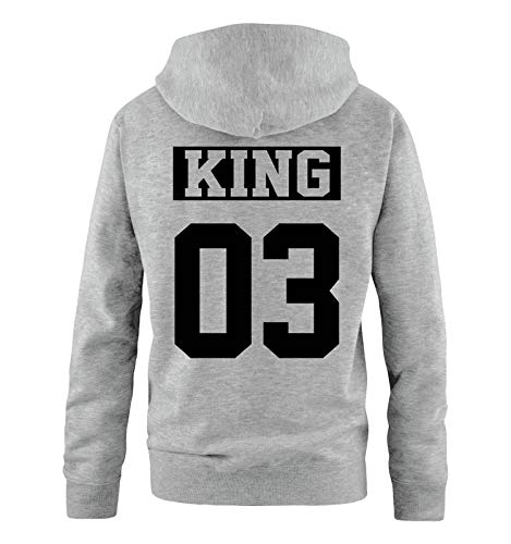 Comedy Shirts - King 03 - NEGATIV - Herren Hoodie - Grau/Schwarz - Gr. L