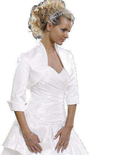 Satin Bolero 3/4 Arm zu Abendkleid Abendjäckchen weiß 36
