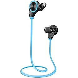 Ecandy Bluetooth 4.0 Wireless Stereo Deportes / marcha y Gimnasio / ejercicio Auriculares Auriculares de manos libres Bluetooth Headset con micrófono para Iphone 6 5s 5c 4s 4, iPad 2 3 4 Nuevo iPad, iPod, Android, Samsung Galaxy, Teléfonos inteligentes dispositivos Bluetooth. (azul)