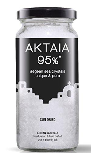 Aegean Naturals natürliches Meersalz - Speisesalz - sonnengetrocknet - ideales Salz zum Kochen - Aktaia Sun Dried, 200g Glas -