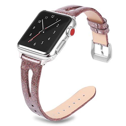 Waotier für Apple Watch 40mm Armband Leder Ersatzarmband mit Glitzer Sternhimmel Muster für Apple Watch Series 4/3/2/1 mit Edelstahl Verschluss Kompatibel iWatch 40mm Sportarmband f[r Damen (Rot)