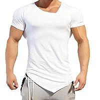 ASHOP Herren Einfarbig unregelmäßige T-Shirt V Kragen Kurzarmshirt Vintage Print Shirt Muscle Slim Fit Sweatshirt für deinen trainierten Körper (M-2XL)