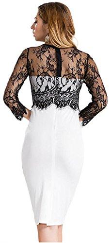 jeansian Damen Long Sleeve Black Lace Black Bandeau Midi Pencil Dress Evening Party Dresses WHS228 Black