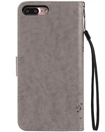 Apple iPhone 7Plus Custodia in pelle Flip Wallet Cover Case, Nnopbeclik Folio PU Leather Lusso Colorato Fiore Custodia Case Cellulare imprinting Albero del Gatto del fiore della farfalla cristallo sc Grau